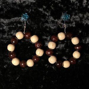 Handmade Creme & Brown Hoops